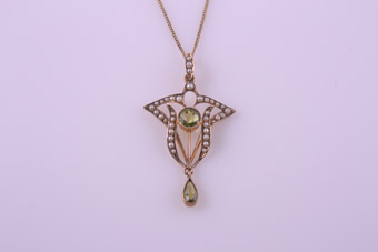 15ct Rose Gold Victorian Pendant With Peridot And Seed Pearls