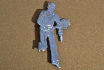 White Metal 1920's Tennis Brooch