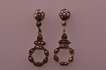 Silver Vintage Drop Stud Earrings With Marcasite