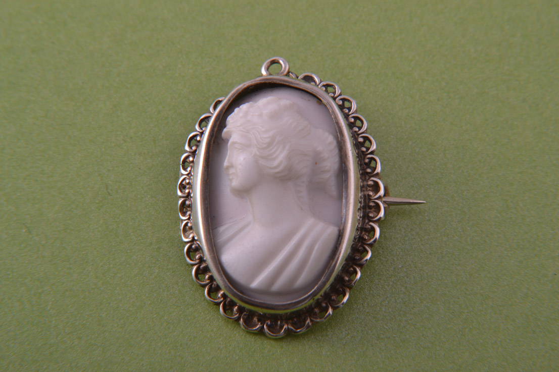 Silver Victorian Brooch / Pendant With A Shell Cameo