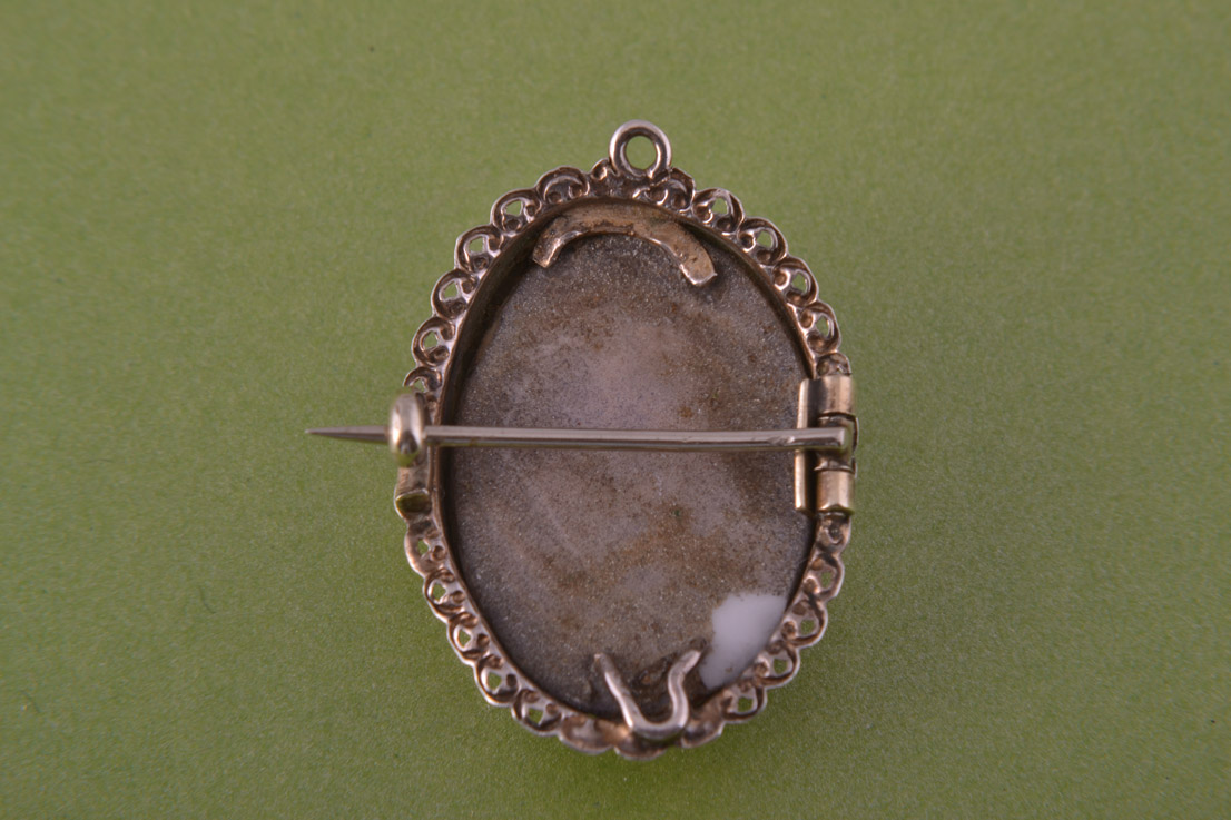 Silver Victorian Brooch Pendant With A Shell Cameo