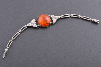 Silver And Amber Retro Bracelet