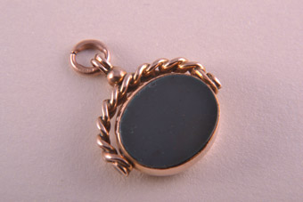 9ct Rose Gold Victorian Swivel With Bloodstone