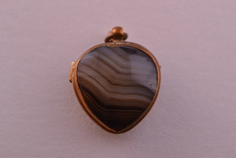 Victorian Opening Locket with Banded Agate
