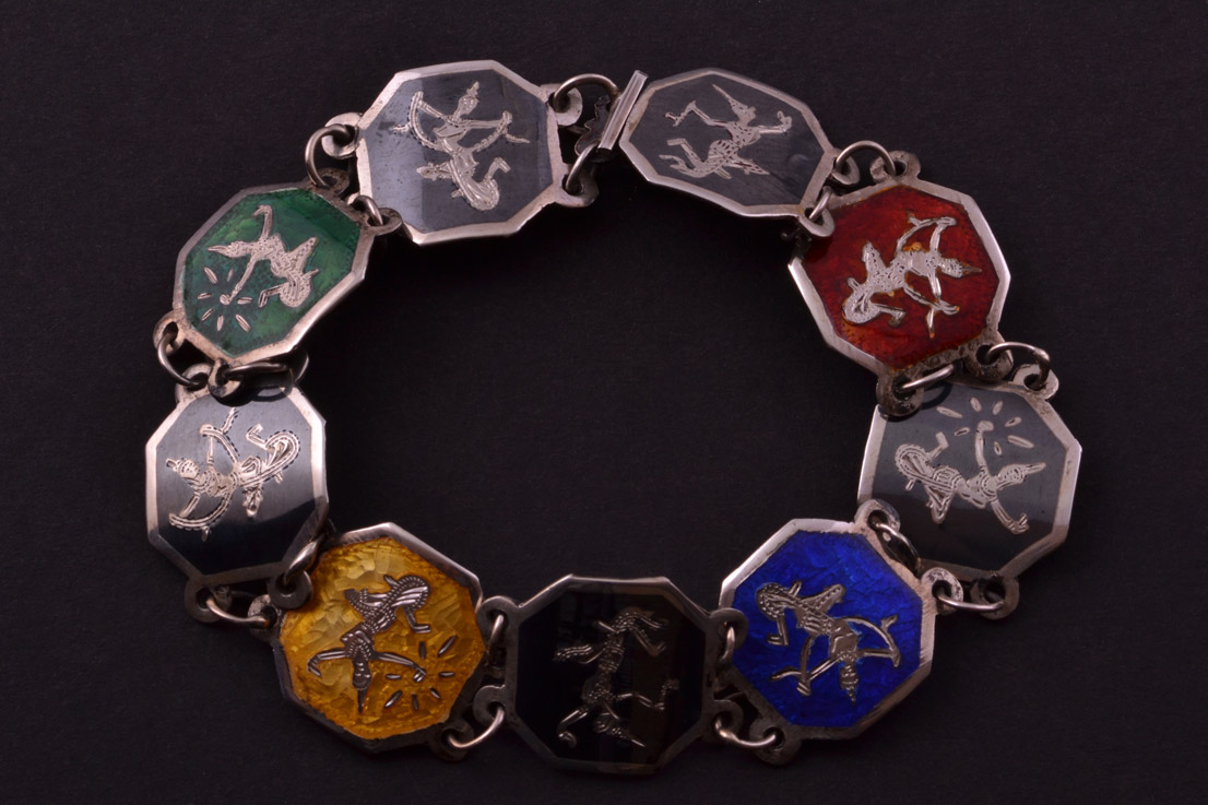 Silver Enamel And Niello Vintage Siamese Bracelet