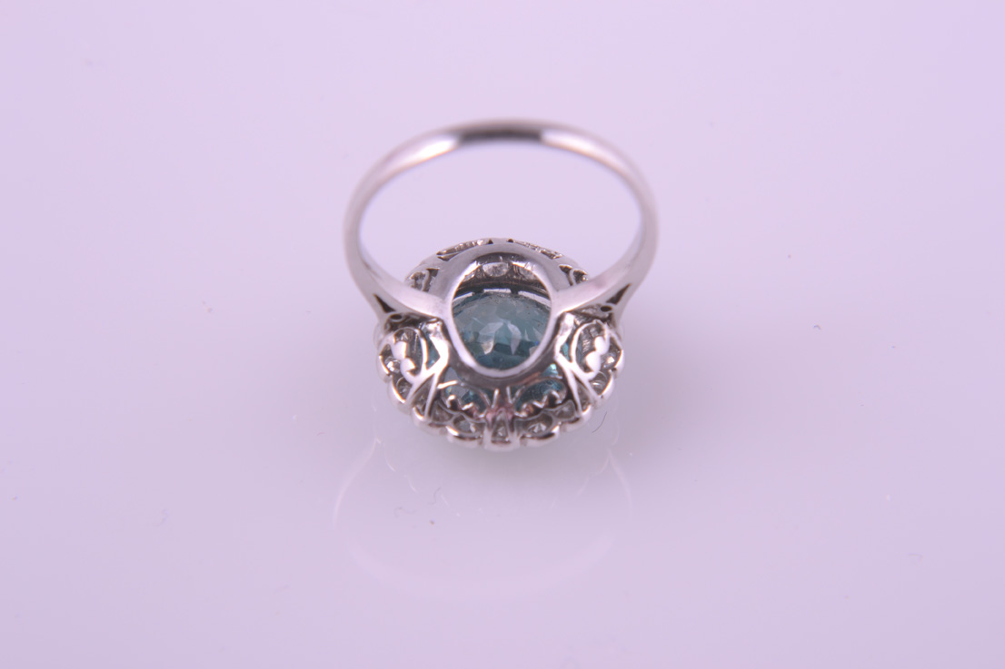 White Gold 60 S Vintage Ring With A Blue Zircon And