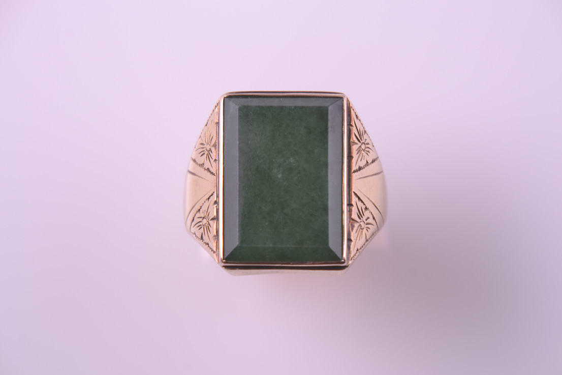 18ct Yellow Gold Vintage Ring With Green Stone