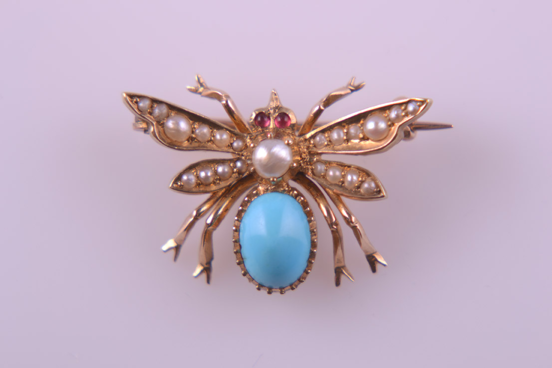 Victorian Insect Brooch With Turquoise, Pearls And Rubies