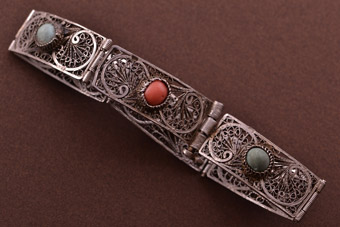 Silver Vintage Filigree Bracelet With Turquoise And Coral