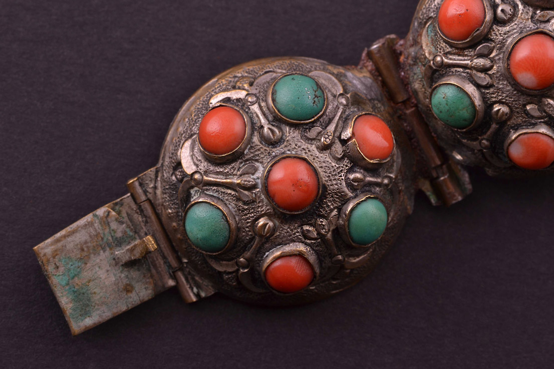 Vintage Oriental Bracelet With Coral And Turquoise