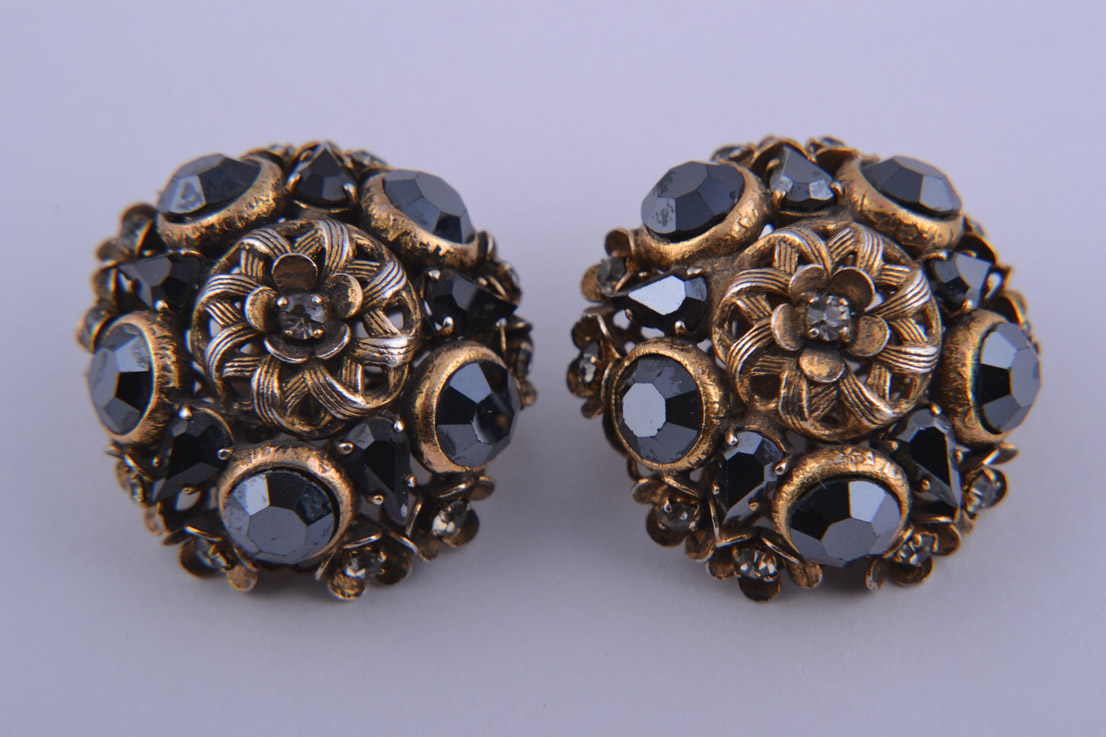 1960's Clip On Earrings With Diamanté