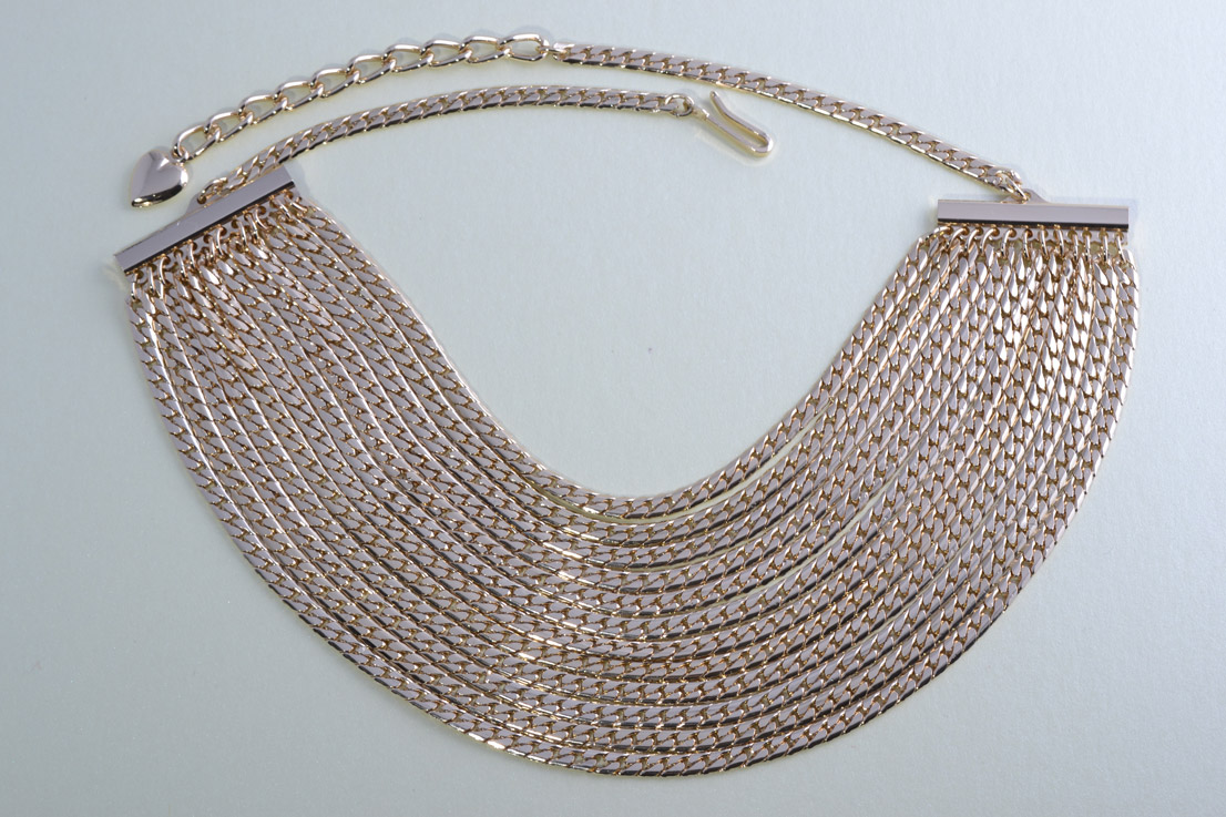 Gilt 1980's Necklace With Draped Chains
