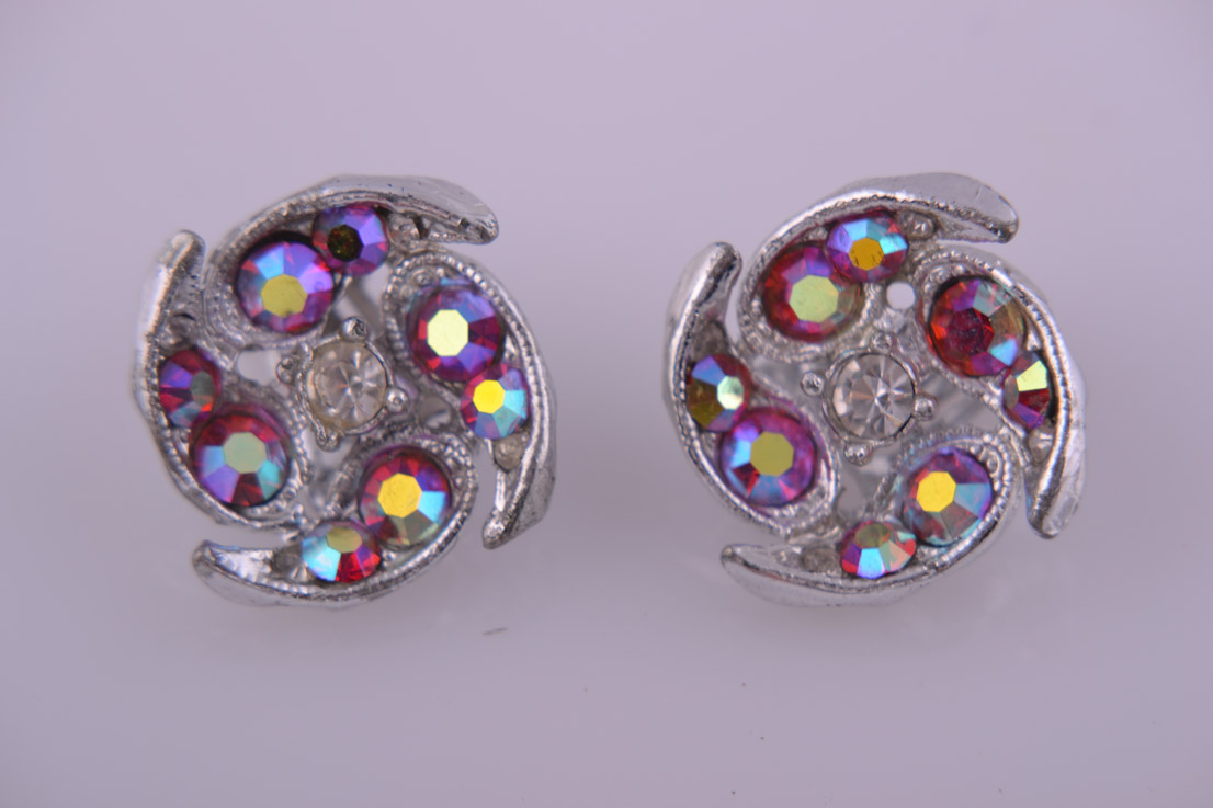 1950's Clip On Earrings With Glitzy Rainbow Crystals
