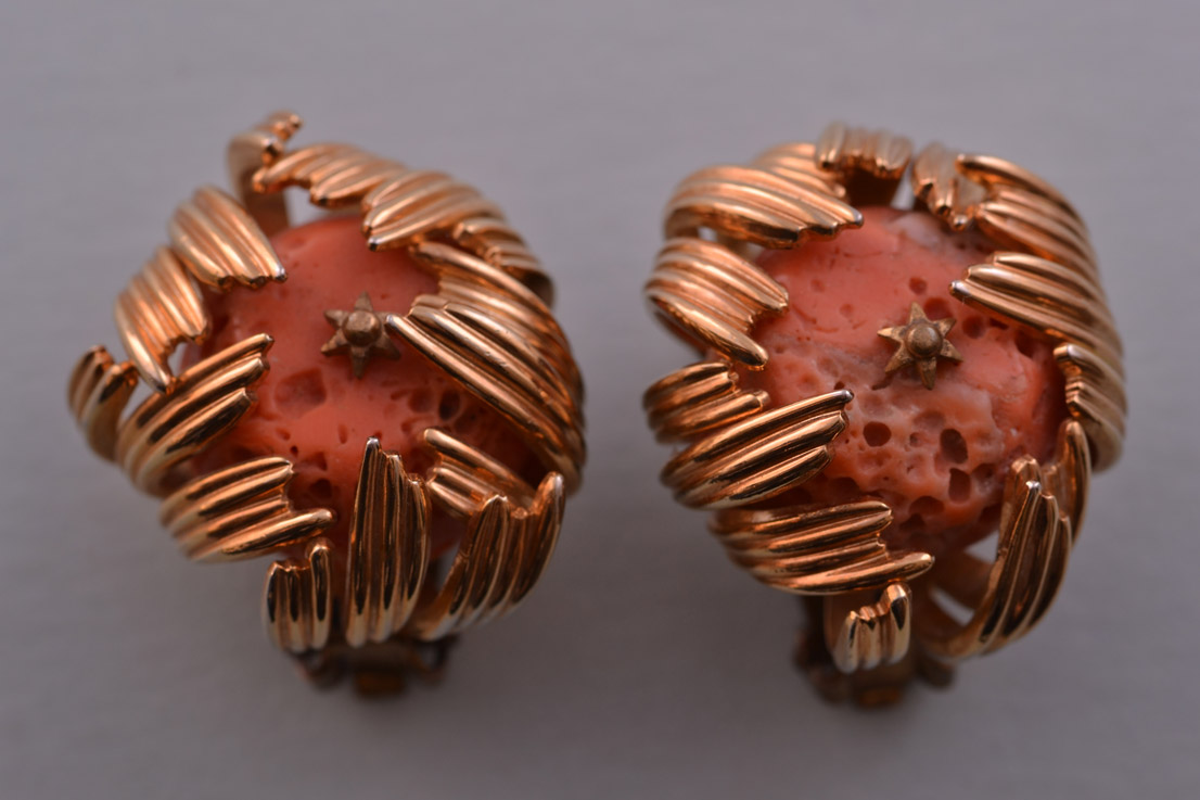 Gilt Retro Clip On Earrings With Coral
