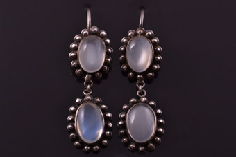 Silver Victorian Hook Earrings With Moonstones