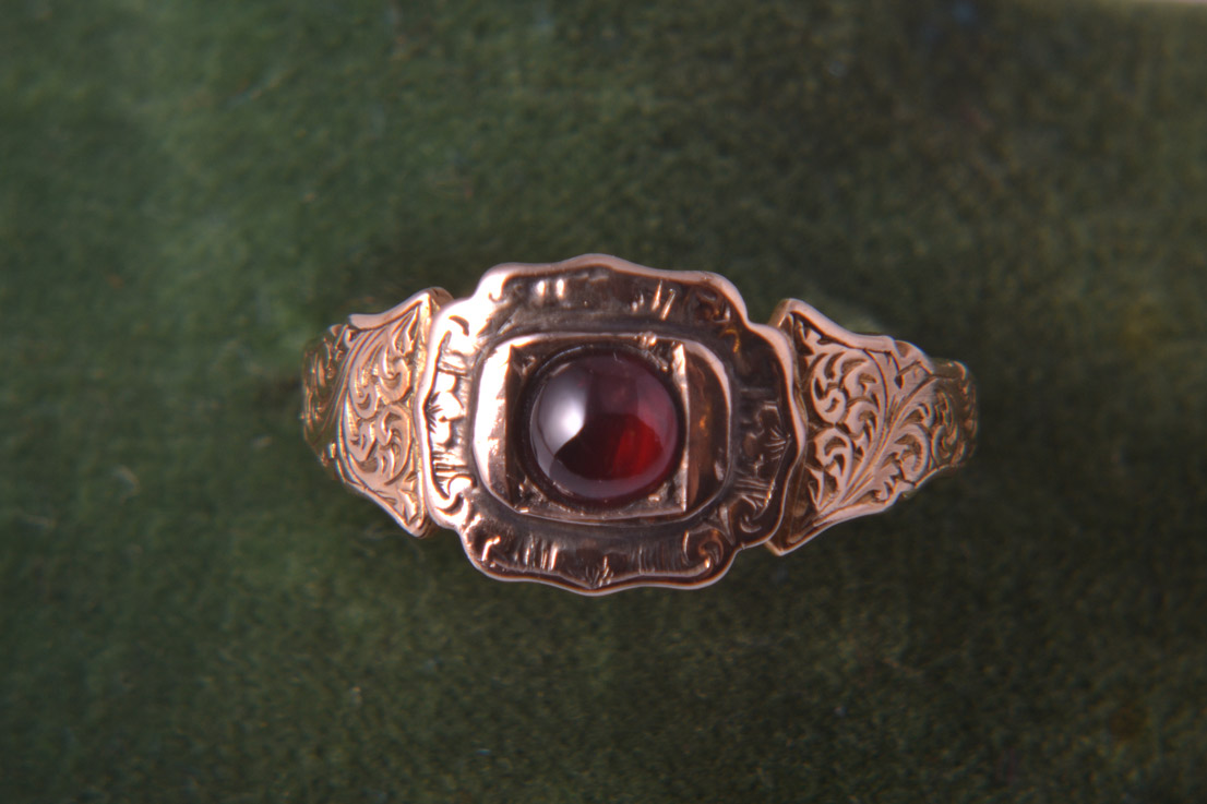 9ct Rose Gold Victorian Ring With Garnet And Engraving