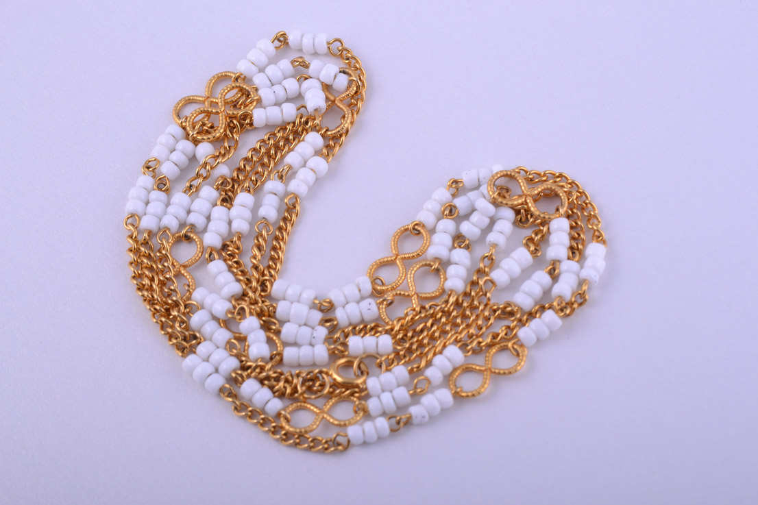 Gilt Necklace With White Glass Beads