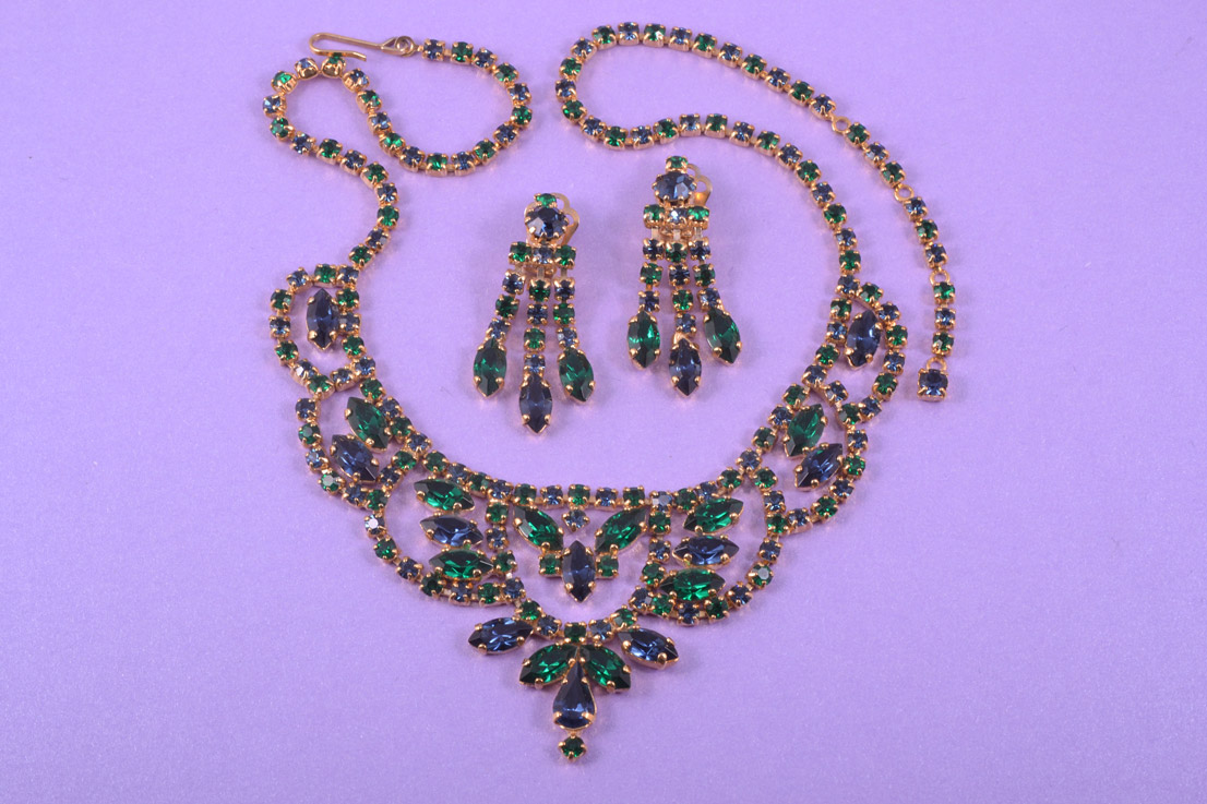 Gilt 1950's Set With Green And Blue Rhinestones