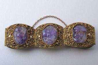 Gilt 1920 S Oriental Filigree Bracelet With Amethysts