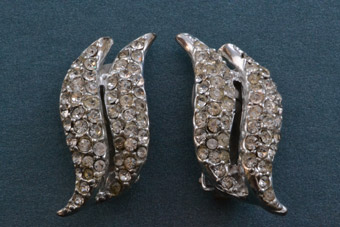 Rhodium Plated 50's Vintage Clip On Earrings With White Paste