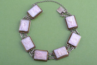 Shell Cameo And Silver Victorian Bracelet