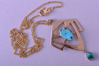 Arts And Crafts Rose Gold And Turquoise Pendant
