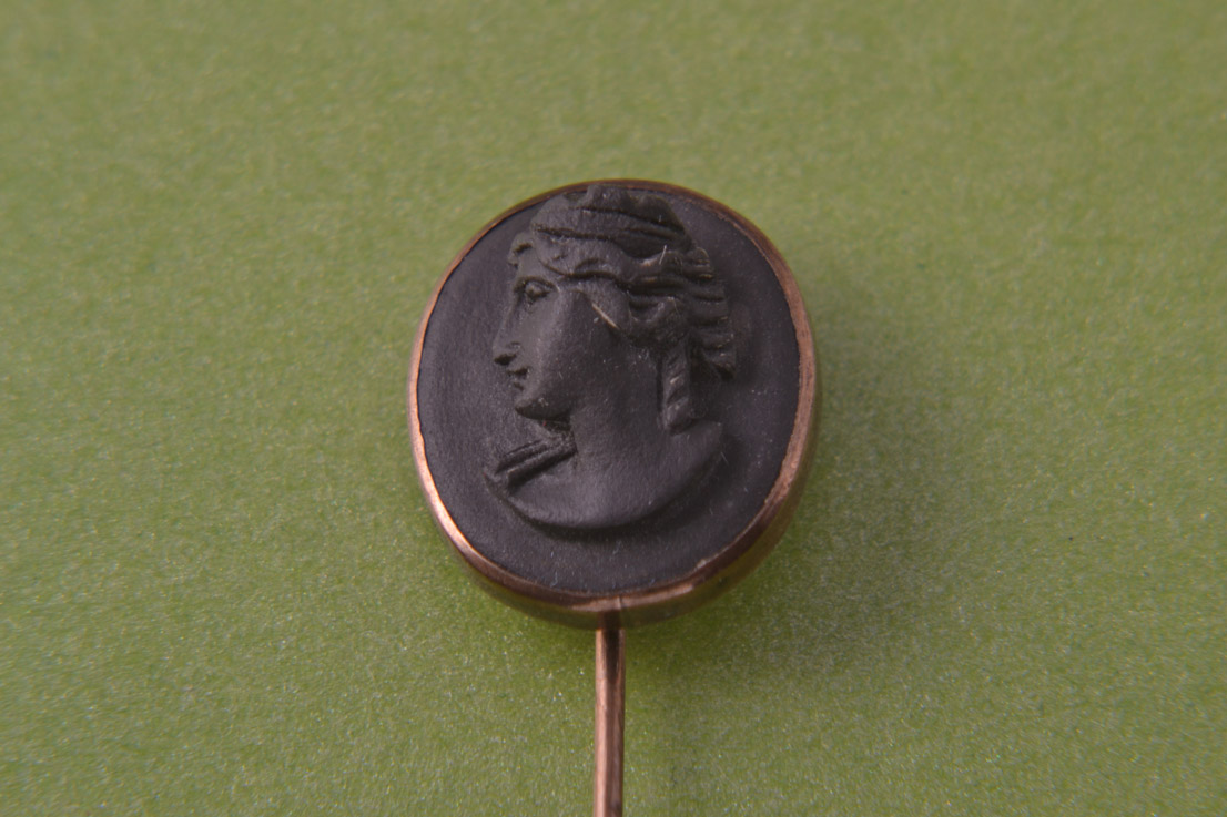 Gilt And Lava Victorian Stick Pin With Cameo