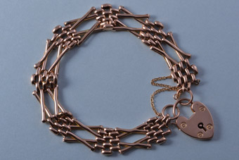 9ct Rose Gold Victorian Gate Bracelet With A Heart Padlock