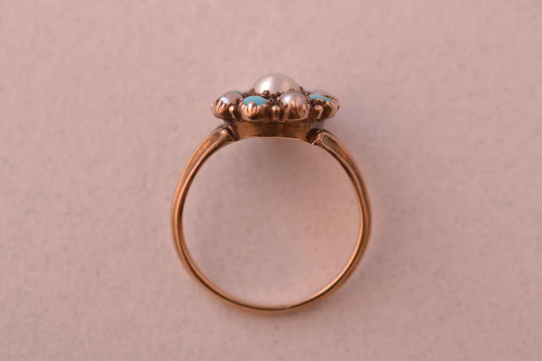 15ct Gold Victorian Ring With Pearls And Turquoise | Antique ...