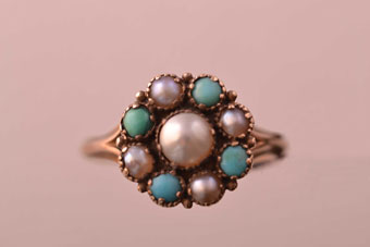 15ct Gold Victorian Ring With Pearls And Turquoise