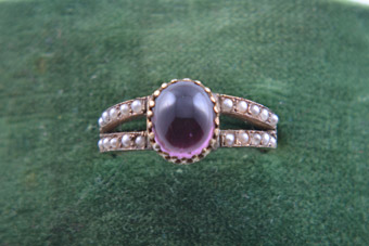 9ct Rose Gold Victorian Ring With A Cabochon Garnet And