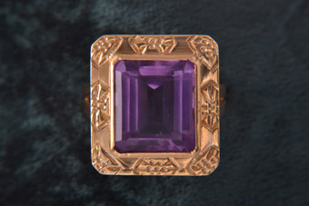 18ct Gold 1960's Ring With Amethyst