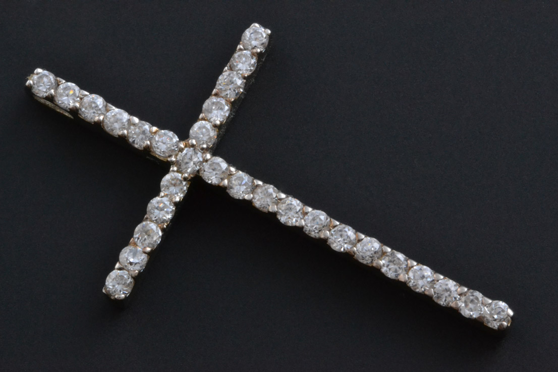 Silver Modern Cross With Cubic Zirconia