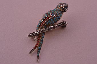 Silver Parrot Brooch Set With Marcasite And Coloured Stones