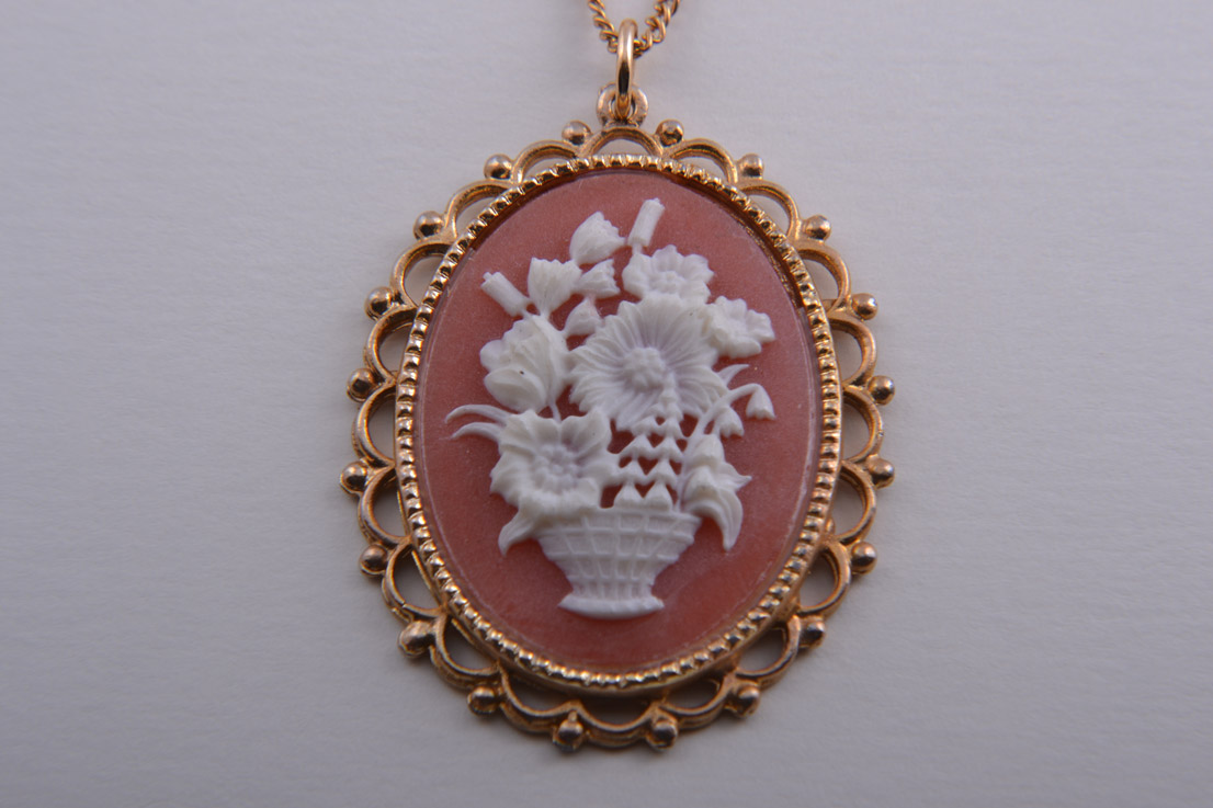 Gilt And Plastic Vintage Pendant