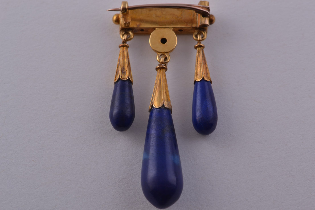 18ct Gold Victorian Etruscan Style Brooch With Lapis
