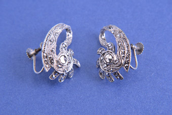 1940's Screw On Earrings With Marcasite