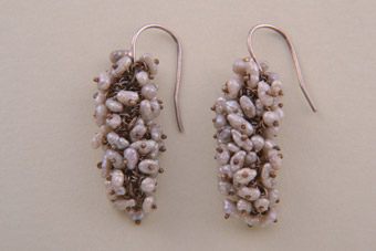 Vintage Drop Earrings With Silver And Pearls