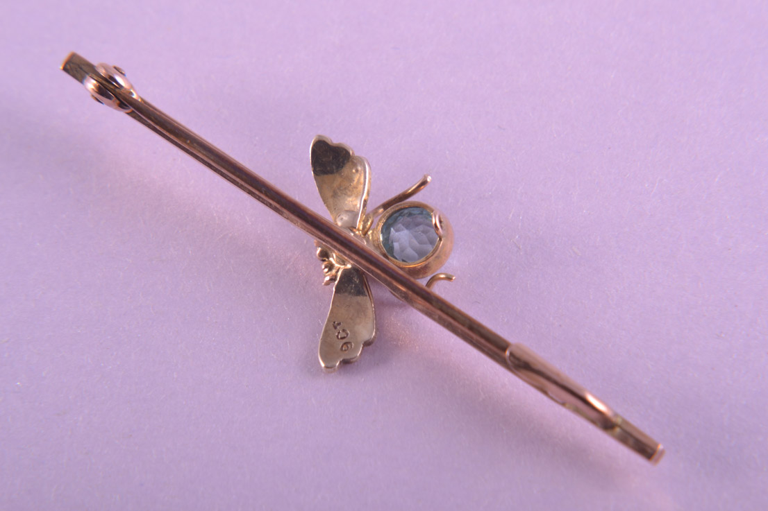 9ct Rose Gold Edwardian Bug Brooch With Aquamarine And