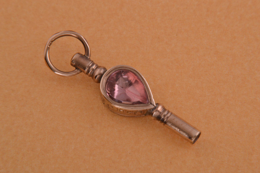Victorian Watch Key With Agate And Foiled Crystal