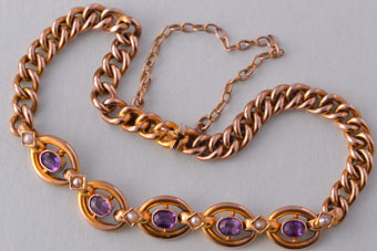 9ct Rose Gold Victorian Bracelet With Amethysts And Pearls