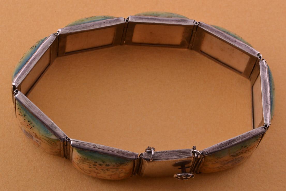 Silver And Bone Vintage Bracelet From Persia Vintage