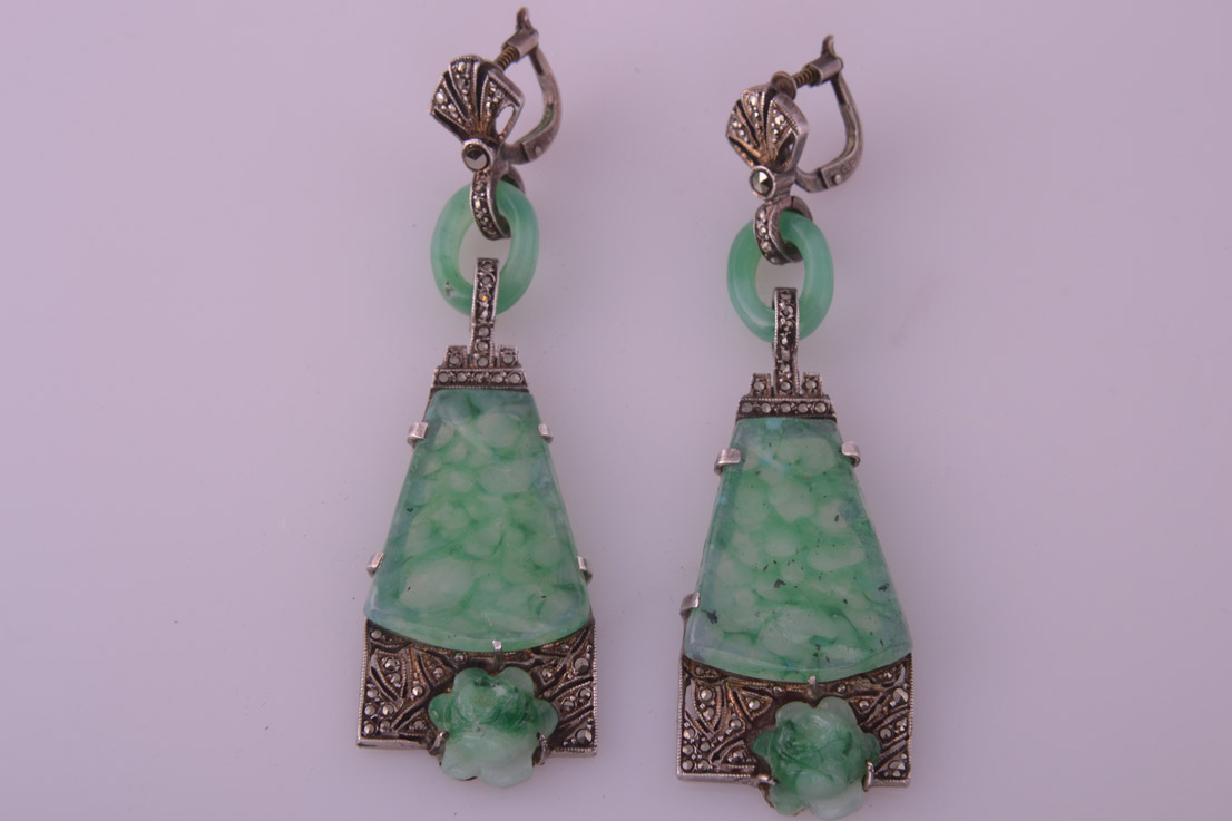 Art Deco Clip On Earrings With Marcasite