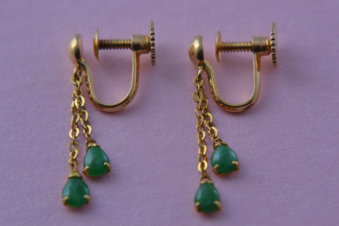 18ct Yellow Gold Vintage Screw On Earrings With Jade