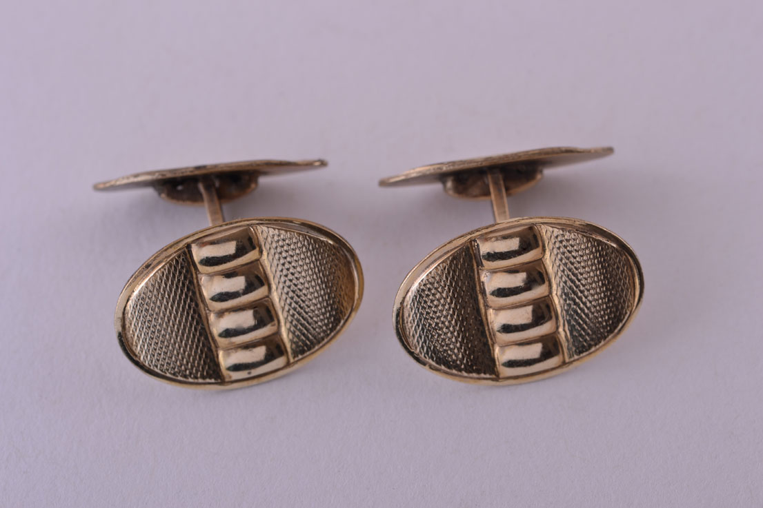 Gilt Vintage Retro Cufflinks With An Engine-Turned Pattern