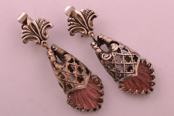 Vintage Costume Clip On Drop Earrings