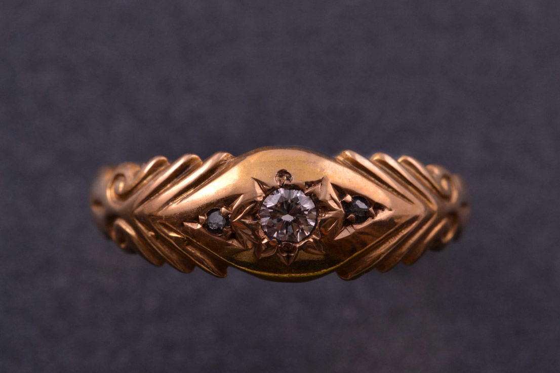 15ct Yellow Gold Edwardian Ring With Diamonds