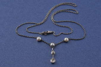 Gold And Silver Edwardian Necklace With Diamonds And Pearls