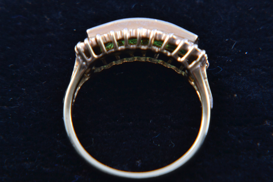 18ct Yellow Gold Ring With Emeralds And Diamonds
