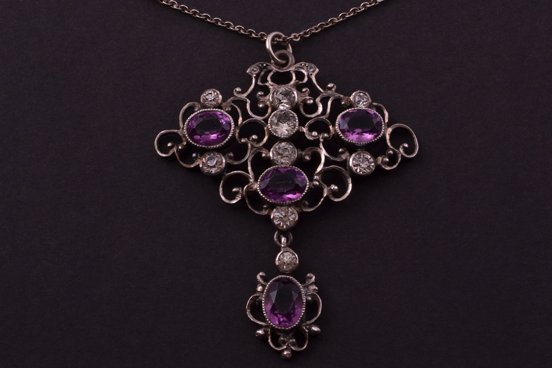 Silver Victorian Pendant With Paste Antique Jewellery